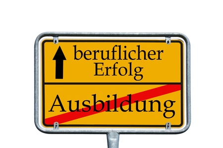 sign with the german words education and professional success photo
