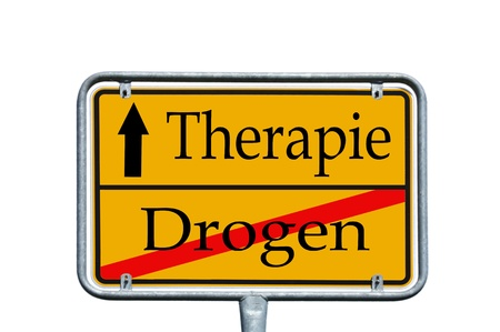 sign with the german words drug and therapy photo