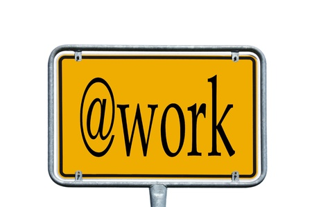 street sign with  work photo