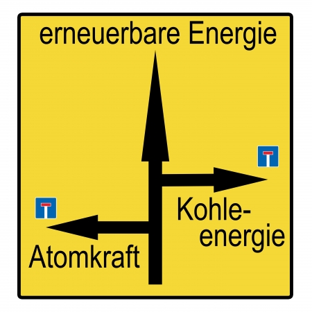 sign with the german words renewable energies and nuclear power photo