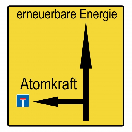 electricity tariff: sign with the german words renewable energies and nuclear power