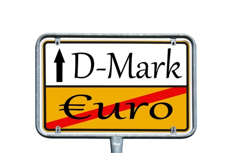 d mark: sign with the german words D-Mark and Euro