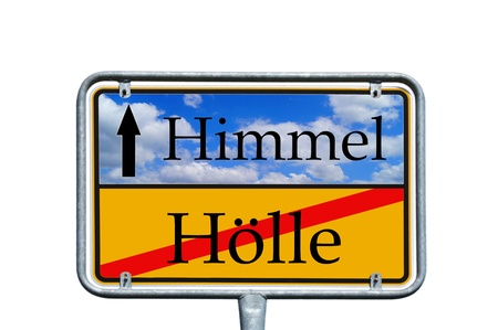 sign with the german word Heaven and hell photo