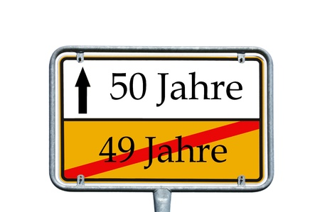 sign with the german word 49 years and 50 years