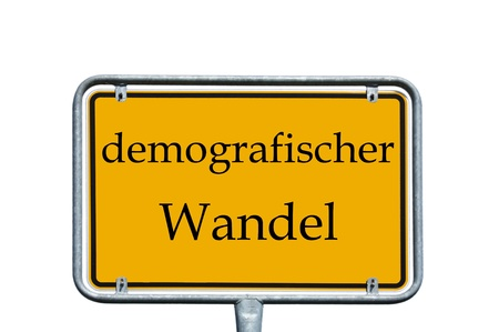 ortsschild: sign with the german words demographic change Stock Photo