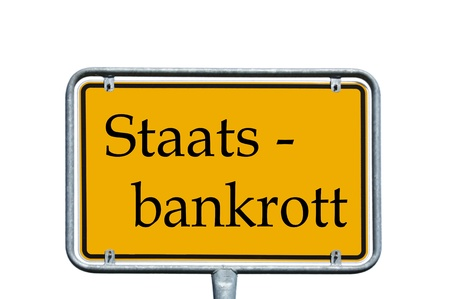 sign with the german word state bankruptcy photo