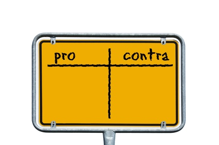 sign with the words pro and contra photo