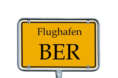 ber: sign with the german words airport BER Stock Photo