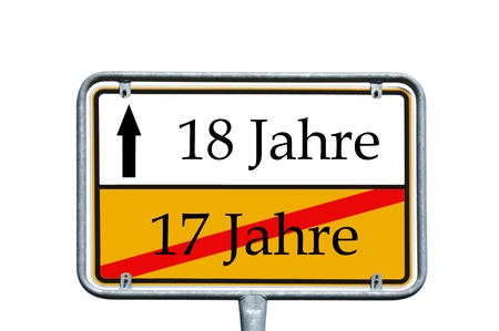 17 years: sign with the german words 17 years and 18 years Stock Photo