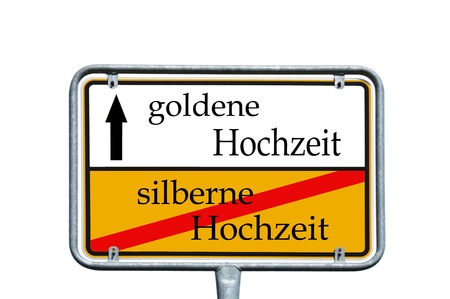 sign with the german words golden wedding and silver wedding photo