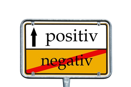 negatively: sign with the words positiv and negativ Stock Photo