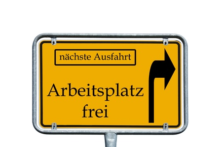 retraining: sign with the german words next exit and free workplace