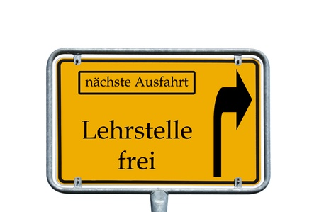 sign with the german words next exit and Teaching vacancy photo