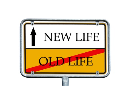 new beginning: sign with the words new life and old life Stock Photo