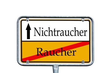 non smoking: sign with the german words Non smoking and smoking Stock Photo