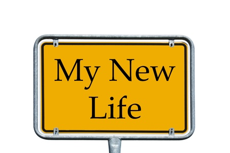 free plate: Sign - My New Life Stock Photo