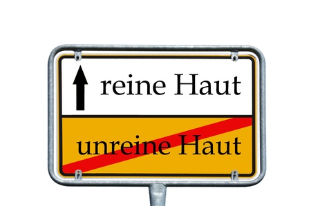 impure: sign with the german words pure and impure skin Stock Photo
