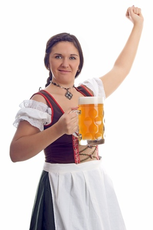 young pretty woman in a dirndl and Pint photo