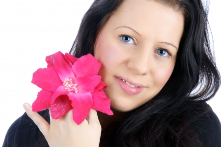 pretty young woman with a flower Stock Photo - 15489356
