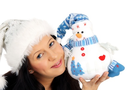 woman with winter soft toy photo