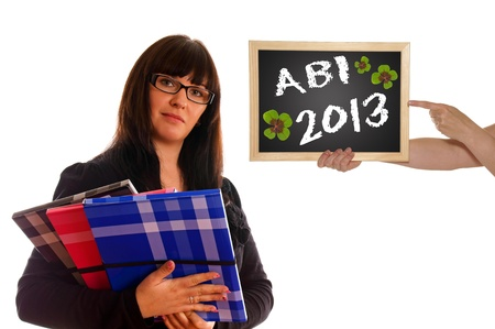 abi: Schoolgirl with books and sign Stock Photo