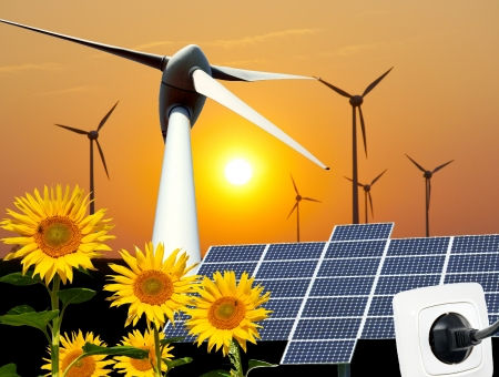 electricity supply: renewable energies Stock Photo