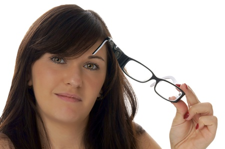 bifocals: woman with glasses Stock Photo