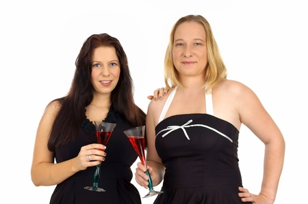 30 s: two pretty women with champagne glass