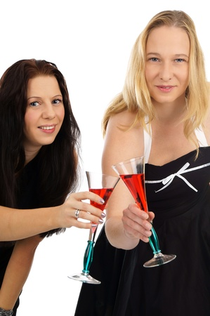 two pretty women with champagne glass photo