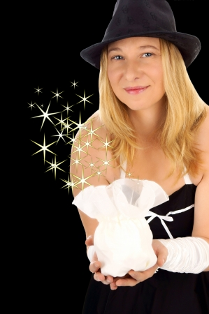 finds: beautiful woman with a gift Stock Photo