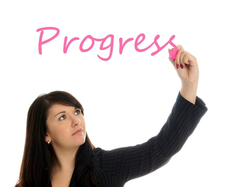 bussines: Zakenvrouw het schrijven van het woord Progress Stockfoto