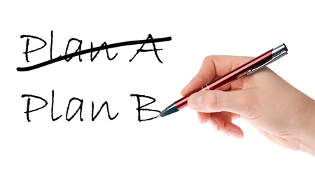 bussines people: Hand with pen writing Plan A and Plan B