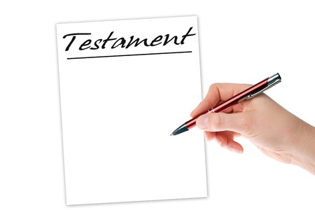 argumentative: hand with pen writing a testament