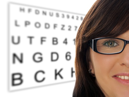 nearsighted: Woman with glasses at the eye doctor Stock Photo