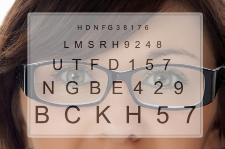 Woman with glasses at the eye doctor photo