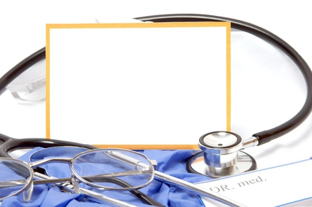 Stethoscope and blank sign photo