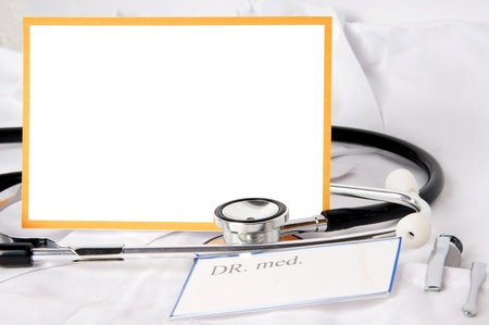 heart sounds: Stethoscope and blank sign Stock Photo