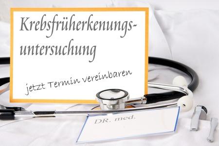 cancer screening: german Sign - cancer screening study Stock Photo