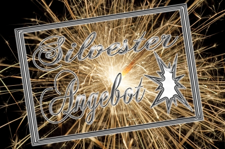 silvester: firework with the german words silvester offer
