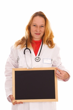 female doctor with stethoscope and empty sign photo