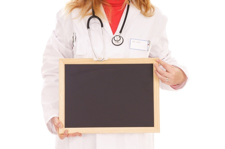 outpatient: female doctor with stethoscope and empty sign