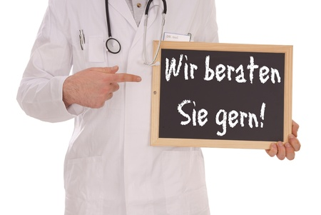 Doctor and sign with the german words We advise you photo