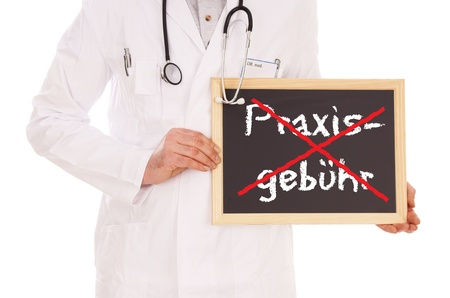 abolished: Doctor and sign with the german words practice charge
