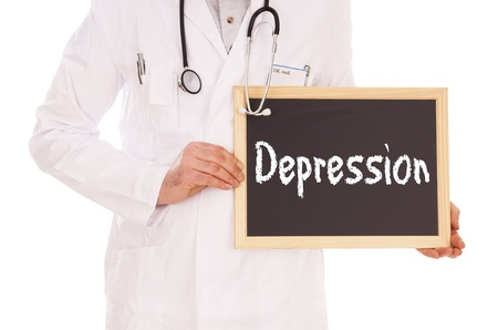 doctor burnout: Doctor and sign with the word depression Stock Photo