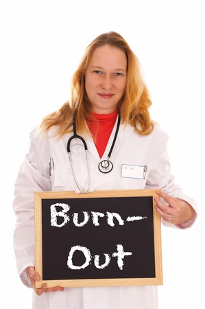 female Doctor and sign with the words Burnout Stock Photo - 16577843