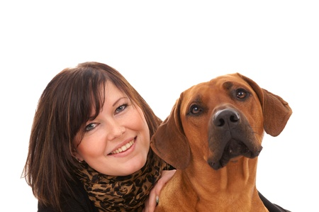 rudely: Young woman with her dog