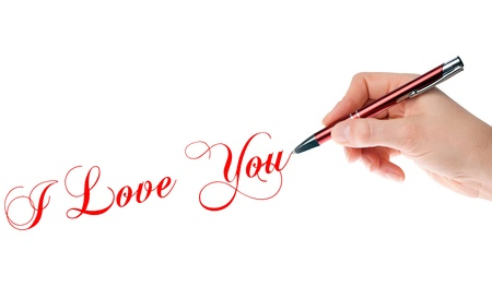 life partner: Hand with pen writes the words I Love You