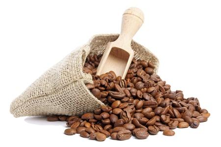beverage in bean: Coffee beans in burlap sack