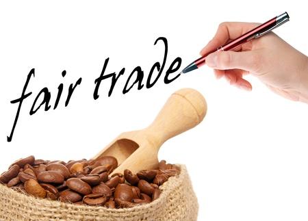 손으로 커피 콩은 공정 거래를 기록 스톡 콘텐츠