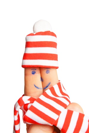 Finger with hat and scarf Stock Photo - 16903510